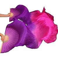 YI NA SHENG WU Abanicos de Danza de Seda Natural Abanicos de Seda Fans de Danza del Vientre 1 Pieza Mano Izquierda + Mano Derecha Violeta + Rosa (180X90 cm)