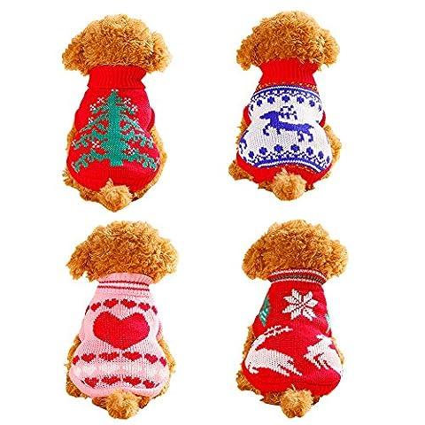 faithtur Kalten Winter flexibel warm Weihnachten Hund Knit Pullover Haustier Weste für Weihnachten (3 Lb Paket)