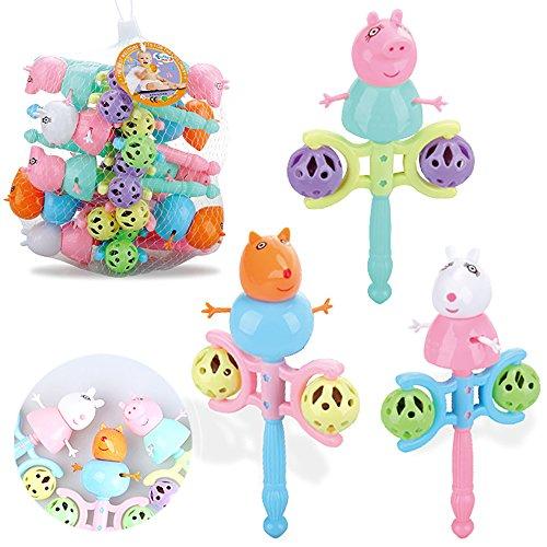 Xiton Babyrassel Spielzeug Neugeborenen Niedlichen Schwein Cartoon Handbell, Entwicklungsspielzeug Geschenk 17 * 9 cm 1 Stück (Schwein 1 Ring)
