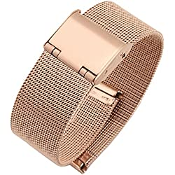 New High Quality Stainless Steel Milanese Mesh Watch Strap Rose Gold 8mm