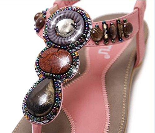 Aisun Damen Elastische Strap Bohemian Style Flache Sandalen Pink