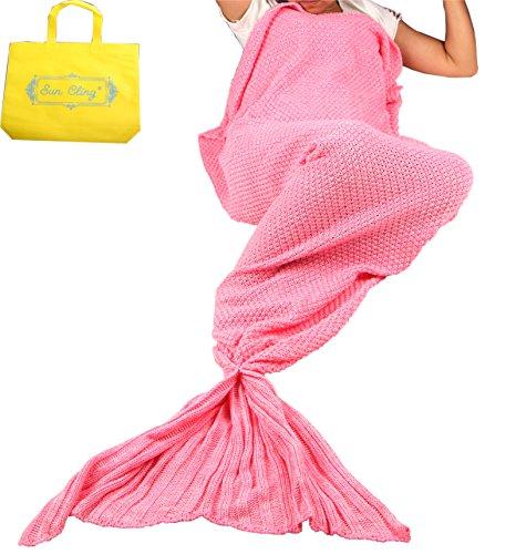 Den Fischen Kostüm Mit Schlafen - Sun Cling Meerjungfrauenschwanz-Decke gehäkelt, für Erwachsene, Teenager, Kinder, Wohnzimmer, Schlafzimmer, Sofa, super weiche Decken, Schlafsäcke 70.7x35.4 Rose