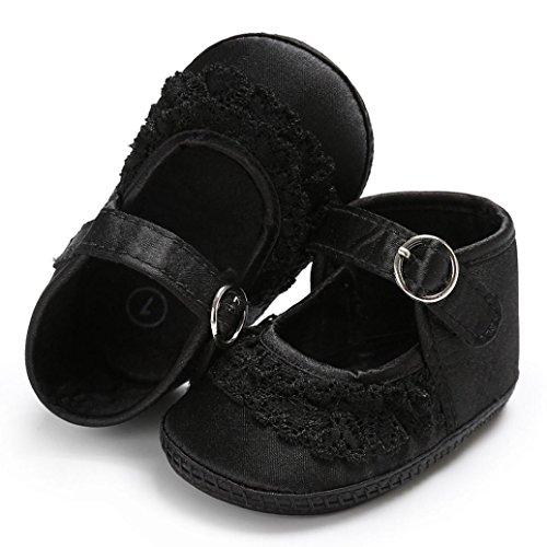 Igemy 1 Paar Baby Kleinkind Mädchen Lace Cute Crib Soft Sohle Anti-Rutsch Schuhe Schwarz