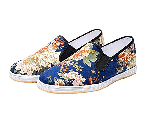 Zooboo Herren Martial Arts Schuhe Kung Fu Praxis Slipper Tai Chi Schuhe tragen Blau