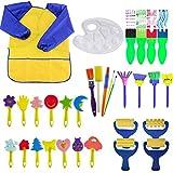 Queta Queta Schwamm Pinsel Set Kinder, 32 Stück Malschwämmchen für Kinder Schwammpinsel Set, wasserdichte Schürze Früherziehung Kunst Handwerk DIY