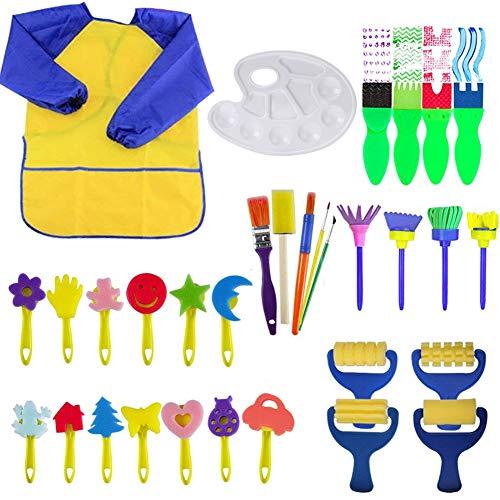Queta Schwamm Pinsel Set Kinder, 32 Stück Malschwämmchen für Kinder Schwammpinsel Set, Wasserdichte Schürze Früherziehung Kunst Handwerk DIY (Kinder Kunst-set Für)