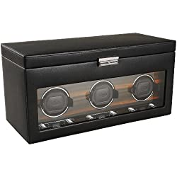 Wolf Designs 457356 Module 2.7 Roadster Triple Watch Winder with Cover and Storage