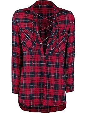 Forplay Tunika Hemd Camisa Mujer rojo/negro