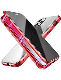 Suhctup Compatible con iPhone 6/iPhone 6S Funda de Magnética Anti-pío Carcasa 360 Grados Protección Doble Cara Transparent Vidrio Templado Marco Aluminio Antigolpes Caso-Rojo
