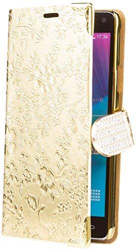Note 4 |  Chrom Blumen Tasche Gold | [Display Schutzfolie Inklusive] Floral Strass Glitzer Glitter Luxus Bling Damen Frauen Mädchen Chrome Book Klapphülle Schutz Etui Handytasche zum aufklappen Flip Case Schutzhülle Booklet Hülle Wallet ()