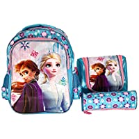 Frozen School Backpack For Kids Girl 14 Inch Blue 3-8 year Inclue Lunch Bag And Pencil Pouch