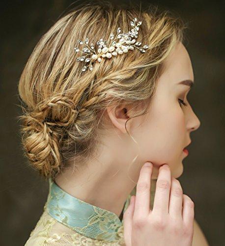 Vintage Gold Braut Haar Kamm Crystal Strass Perlen Hochzeit Haarschmuck -