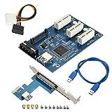 Rokoo PCI-e Express 1X zu 3 Port 1X Switch Multiplier HUB Riserkarte + USB Kabel