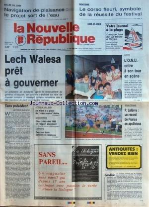 NOUVELLE REPUBLIQUE (LA) [No 13640] du 16/08/1989 - LECH WALESA PRET A GOUVERNER - LE RENONCEMENT DU GENERAL KISZCZAK - LIBAN / L'onu entre a son tour en scene - sans precedent par gueneron - afrique du sud / de klerk a la place du vieux croco botha - la grogne des gendarmes - LES SPORTS - athletisme -
