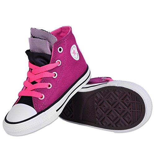 CONVERSE ALL STAR Hi da bambina, colore: rosa/zaffiro/rosa Neon/-Scarpe da ginnastica alte, colore: nero (PINK / SAPPHIRE / Neon / PINK / BLACK)