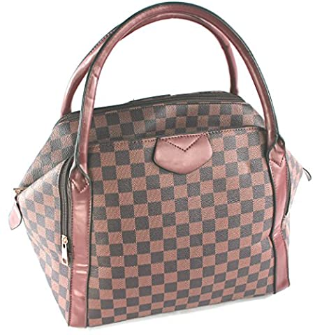 Designer Inspired Check Monogram Holdall style Handbag with Matching Wallet