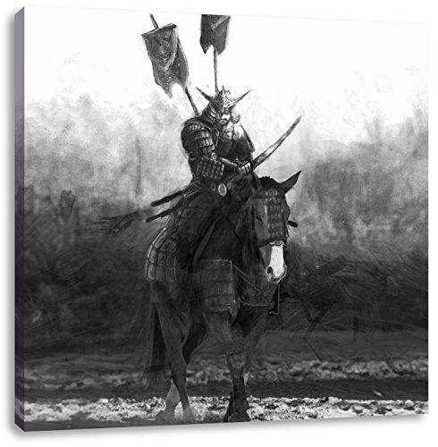 Pixxprint Samurai Guerriero su Un Cavallo di B & W 40x40 cm Stampa su Tela