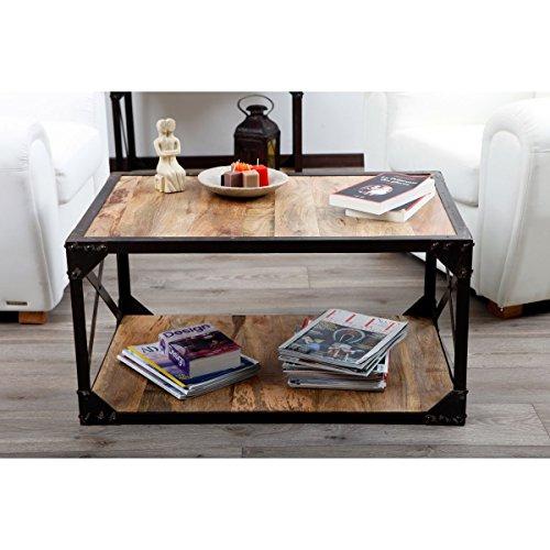 Holz Dekor X Design Eisen gerahmt Couchtisch, mango natur & Schwarz, 90x 60x 45cms Eisen-couchtisch