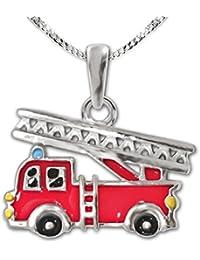 Clever–Parure pendentif petit camion de pompier rouge 12x 9mm Noir Jaune Laqué avec chaîne argent 925gourmette 38cm pour les enfants