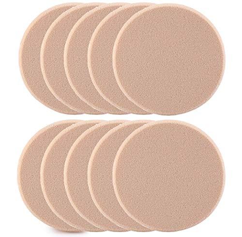 Cooljun 1/5/10Pcs Eponge Houppe Rond pour Poudre Fond de Teint Maquillage Démaquillage (10Pcs)