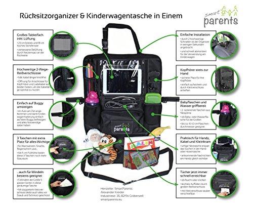 erwachsenen windeln mit folie Rücksitzorganizer und Kinderwagentasche, Tabletfach mit Belüftung, Taschen für Feuchttücher, Flaschen, Spielzeug - Rückenlehnenschutz für entspanntes Reisen mit Kindern