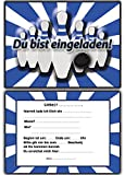 EInladungskarten Kindergeburtstag Bowling Kinderparty mit Text - 8 Stück Blau