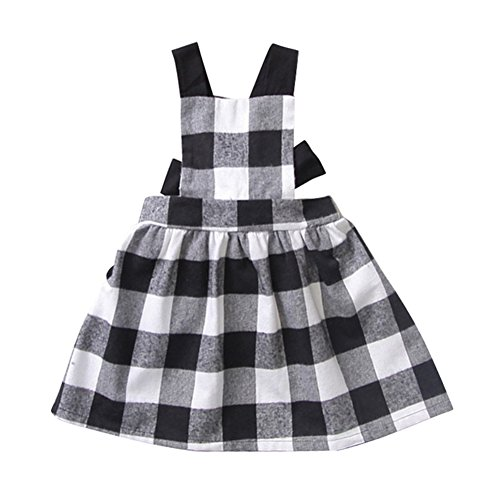 Baby Mädchen Plaid ärmelloses Kleid Winter Herbst Frühling Rock One Piece Ooutfit für 1-6 Jahre altes kleines Mädchen von Shiningup (Schule Plaid-kleid)