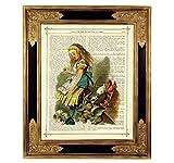 Alice im Wunderland Tiere Kunstdruck auf antiker Buchseite Geschenk Geburtstag Steampunk Poster Bild ungerahmt