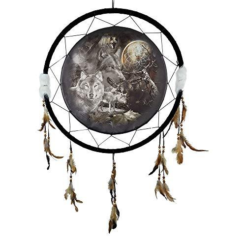 Imprints Plus Medizinschild Traumfänger - 61 x 107 cm Natur Wandbehang mit Federn und Perlen inklusive Anleitungskarte und Nagel Wolves Spider Web