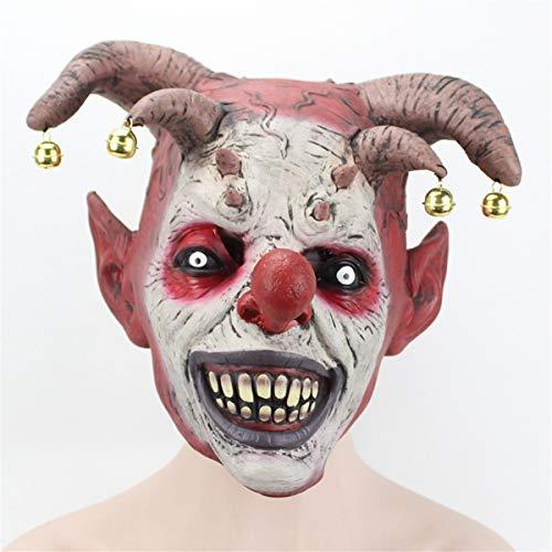 Bureze Gruselige böse Glocke Halloween Clown Maske Latex Böse Jester Clown Maske Party