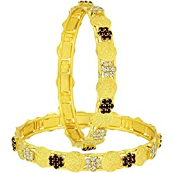 The Jewelbox Lakshmi Coin Ginni American Diamond Maroon Gold Plated Bangle Set of 2 (Pair) for Women