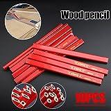 10er Zimmermann Bleistifte mit Anspitzer, Holzbearbeitung Zimmermann Bleistift Set flache weiche Blei zum Zeichnen von Linien auf Holz 7 Zoll lang/rot