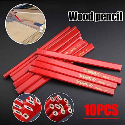 10pcs lápices de carpintero con sacapuntas, lápiz carpintero carpintería conjunto plomo suave plana para dibujar líneas en la madera - 7 pulgadas de largo / rojo