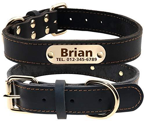 TagME Personalisierte Hundehalsbänder aus Leder mit Eingraviertem Namen und Telefonnummer/Hundehalsbänder aus Echtem Leder für Mittlere Hunde/Schwarz -