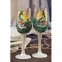 Copas de novios hechas a mano pintadas con modelado 2 piezas estilosas bonitas