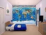 Walltastic Papier Peint Mural Carte du Monde 2,45 m x 3 m