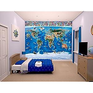 Walltastic, Mural, mapamundi, 243 cm x 304 cm