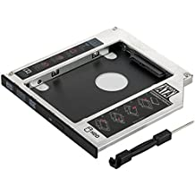 Marco de unidad de disco duro SSD/HDD 1009505 de Poppstar, en ranura para CD-DVD Sata 3 de 9,5 mm, para instalación en el portátil (aluminio)