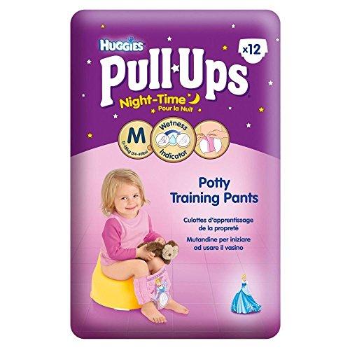 Huggies Pull-Ups-vêtements d'entraînement Night Time pot pour filles Taille moyenne 5 12-18kg (12) - Paquet de 6
