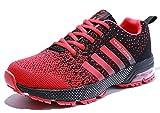 Damen Herren Laufschuhe Sportschuhe Turnschuhe Trainers Running Fitness Atmungsaktiv Sneakers(Rot,Größe38)