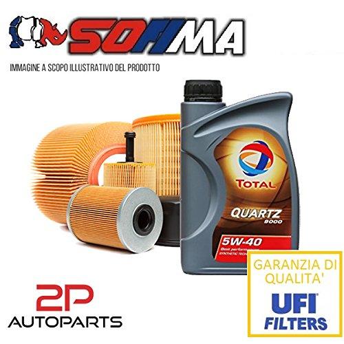 Kit tagliando auto, kit tre filtri e 4 litri olio motore Total 5W40 (KF1060/so)