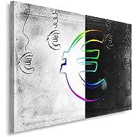 Feeby Frames, Quadro pannelli, Pannello singolo, Quadro su tela, Stampa artistica, Canvas 30x40 cm, MODERNO, EURO, SIMBOLO, VALUTA,
