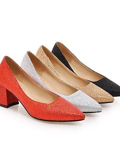 WSS 2016 Chaussures Femme-Mariage / Bureau & Travail / Habillé-Noir / Rouge / Argent / Or-Gros Talon-Confort / Bout Pointu-Talons-Similicuir black-us8 / eu39 / uk6 / cn39