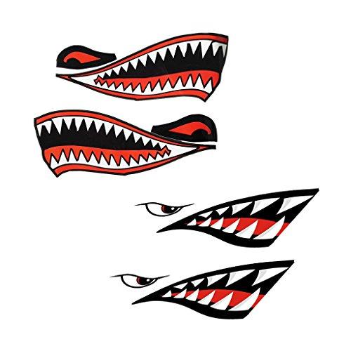 sharplace 4-teilig Shark Mund Aufkleber Aufkleber Angeln Boot Kanu Kajak Grafiken Zubehör–wasserfest und strapazierfähig (Zubehör Kajak-angeln)