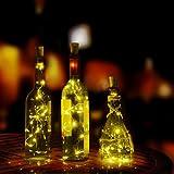Lichterkette Außen, HUIHUI Wasserdicht 2m 20 LEDs Kupferdraht Lichterkette batteriebetrieben für Party, Garten, Weihnachten, Halloween, Hochzeit, Indoor & Outdoor Decor (Warmweiß,One size)