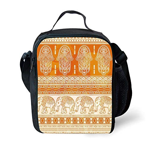 ZKHTO School Supplies Hamsa,Old Fashioned Traditional Borders with Ornate Elephants Geometric Tribal Figures Decorative,Orange White for Girls or Boys Washable Palm Double Old Fashioned