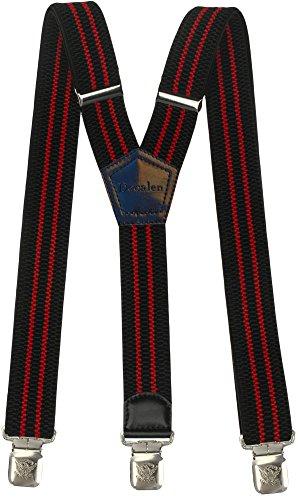 Hosenträger für Herren breit extra starken 4 cm mit 3er Clips Y-Form lange für Männer und Damen Hose (Schwarz und Rot) (Rote Hosenträger Baby)