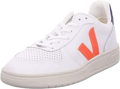 Veja Sneaker V-10 in Pelle Bianca con Logo in Gomma Arancione, Taglia UK: