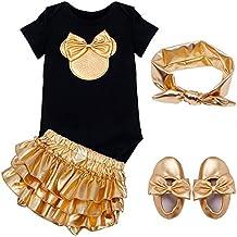 Freebily Pelele + Pantalones Cortos + Zapatos + Banda de Cabeza / Diadema para Bebé Niña (6-18 Meses) Conjunto Bautizo Fiesta Recién Nacido