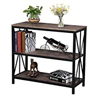 Aingoo 3-Tiers Vintage X-shaped Console Table Industrial Sofa Entry Table with Shelf Bookshelf 90 * 38 * 81 CM Brown